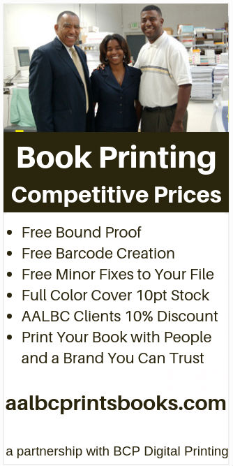 AALBC Prints Books! We guarantee our results by providing a finished book for your review.