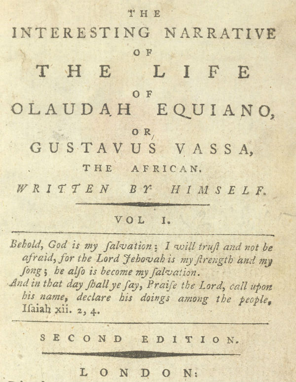 click to see two pages from Olaudah Equiano; or, Gustavus Vassa, the African, Written by Himself