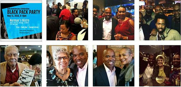 A collage of the 2016 Black Pack party in Chicago