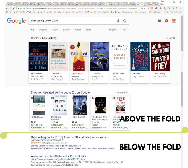 Screen shot of ggole search result all the above the fold content is their bookstore