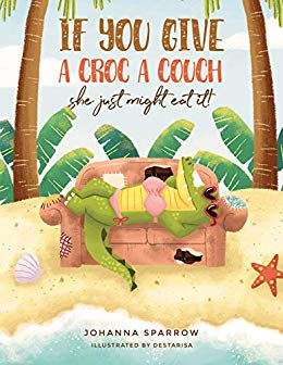 Click for a larger image of If You Give A Croc A Couch: She just might eat it!