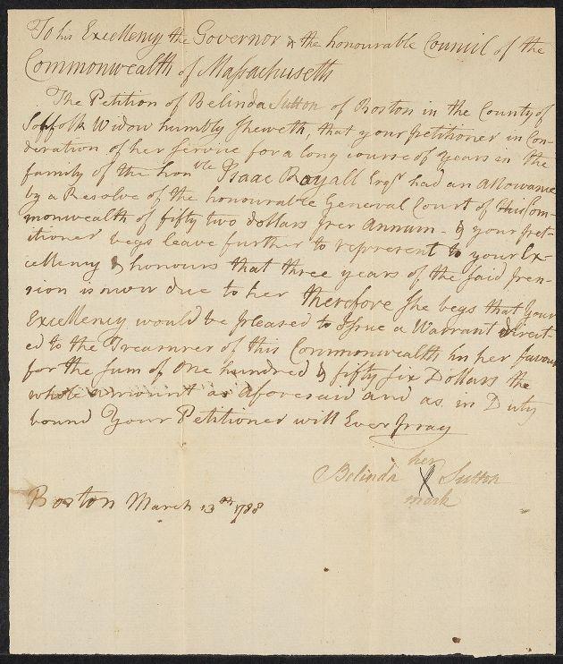 Image of Belinda Sutton's 1788 petition