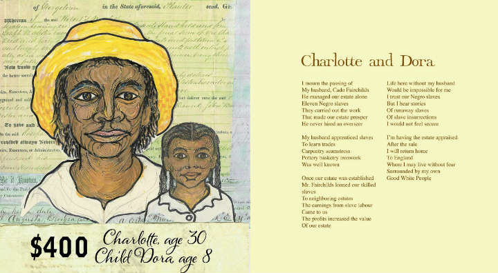 Charlotte and Dora from the book Freedom Over Me: Eleven Slaves, Their Lives and Dreams Brought to Life by Ashley Bryan