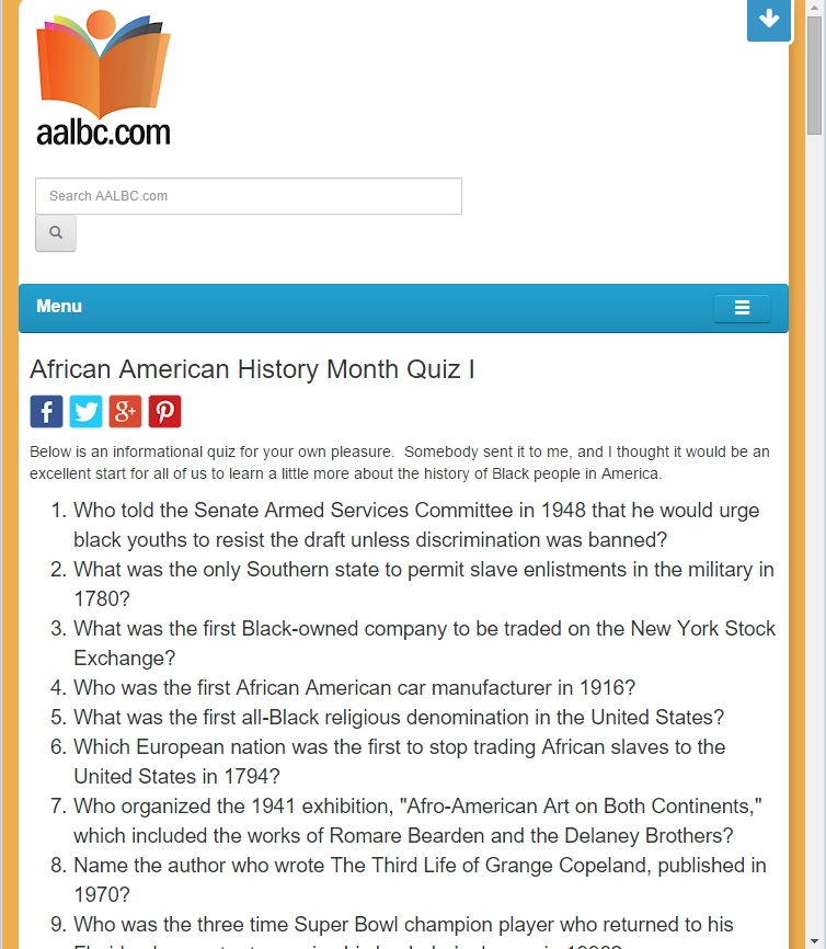 Answers to our african american history month quizzes for American history trivia facts