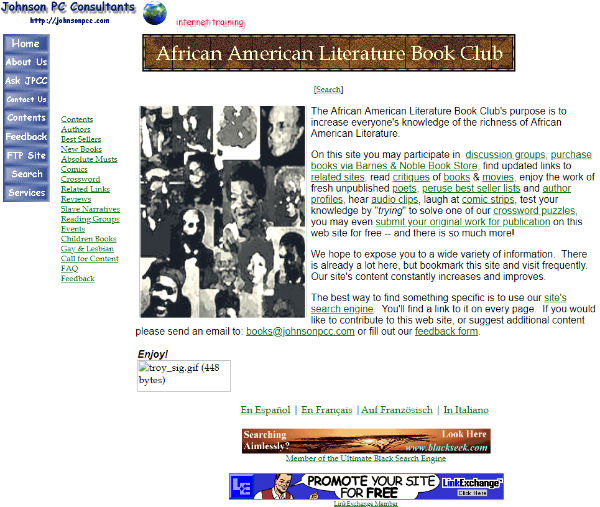 Website homepage October 23, 1997