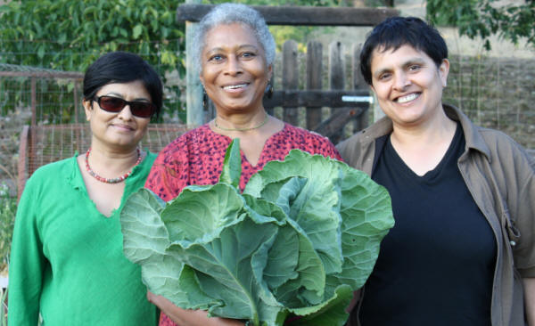 Alice Walker with Director Pratibha Parmar and producer Shaheen Haq in Northern California. Photo credit: Trish Govoni