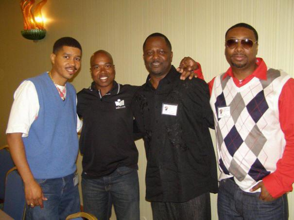 Omar Tyree, AALBC.com founder Troy Johnson, Brian W. Smith and author Clarence Nero at the Bayou Literary Festival around 2009